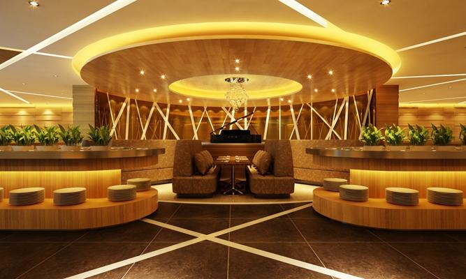 现代金色音乐餐厅3D模型【ID:415091068】