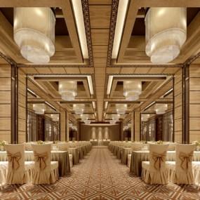 欧式简约酒店宴会厅3D模型【ID:415094478】