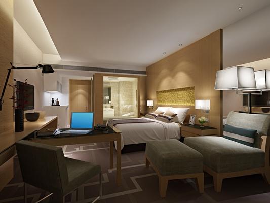 现代酒店客房3D模型【ID:415101631】