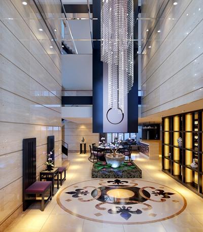 新中式酒店中庭3D模型【ID:415141372】