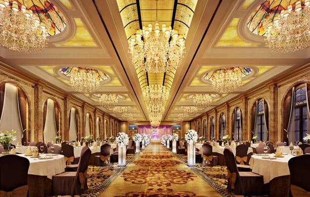 经典欧式金色酒店宴会厅3D模型【ID:415161418】