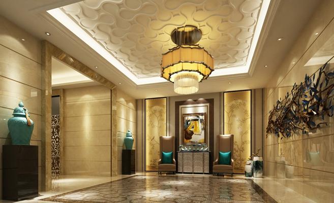 新中式酒店玄关过道3D模型【ID:415171817】