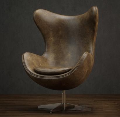 美式简约棕色皮质蛋壳椅3D模型【ID:415178076】