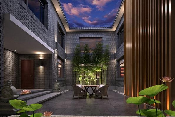 传统中式酒店中庭3D模型【ID:415192310】
