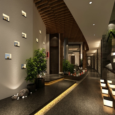 新中式酒店玄关过道3D模型【ID:415193895】