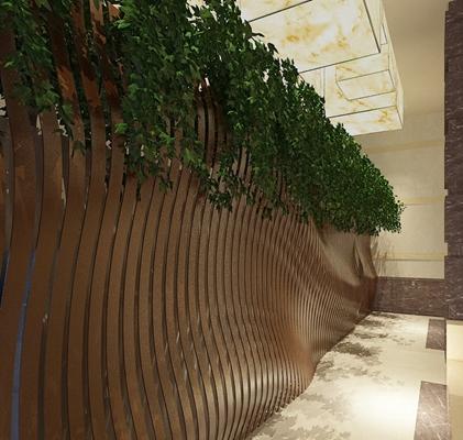 现代酒店玄关过道3D模型【ID:415213824】