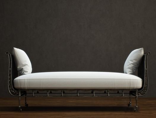 经典欧式黑色铁艺床尾凳3D模型【ID:415230423】