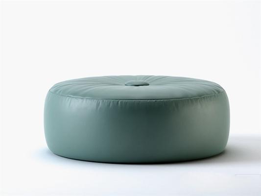 现代蓝色皮质沙发凳3D模型【ID:415234278】