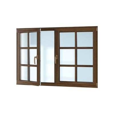 现代长方形木艺平开窗3D模型【ID:415250955】