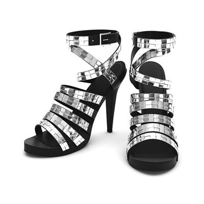 银色金属鞋子3D模型【ID:415257642】