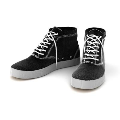 黑色布艺鞋子3D模型【ID:415257656】