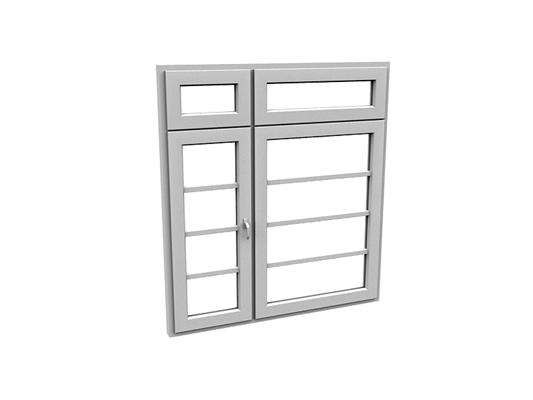 现代长方形玻璃平开窗3D模型【ID:415336958】