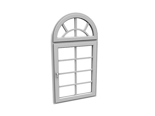 欧式简约拱门形玻璃平开窗3D模型【ID:415337941】