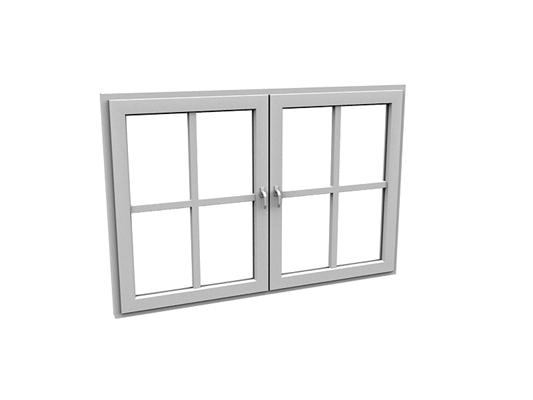 现代长方形玻璃平开窗3D模型【ID:415337970】