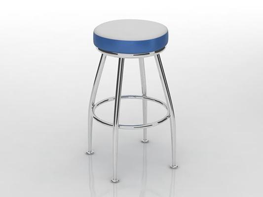 现代银色铁艺凳子3D模型【ID:415340334】
