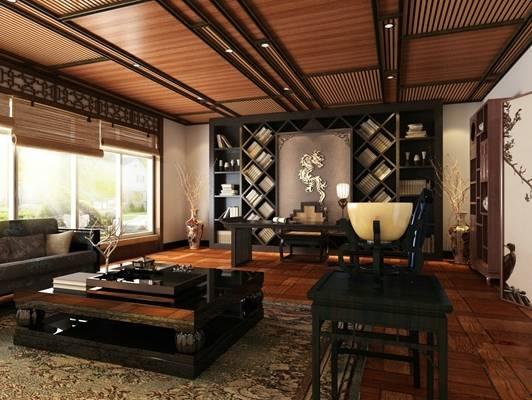 新中式黑色木艺办公桌椅组合3D模型【ID:415401196】