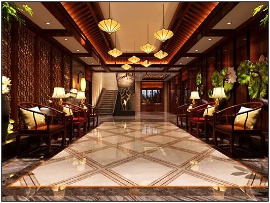 传统中式酒店玄关过道3D模型【ID:415403861】
