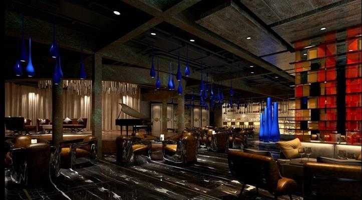 工业风音乐餐厅3D模型【ID:415423073】