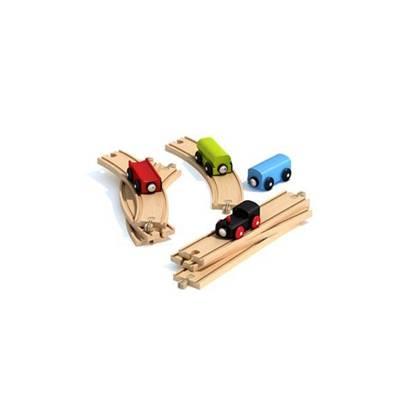 彩色木艺玩具火车3D模型【ID:415426994】