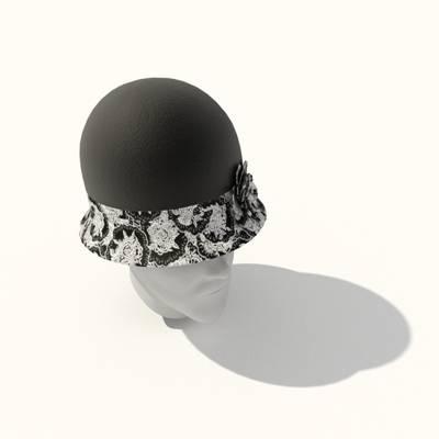 黑色布艺帽子3D模型【ID:415433583】