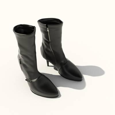 黑色皮质鞋子3D模型【ID:415433621】