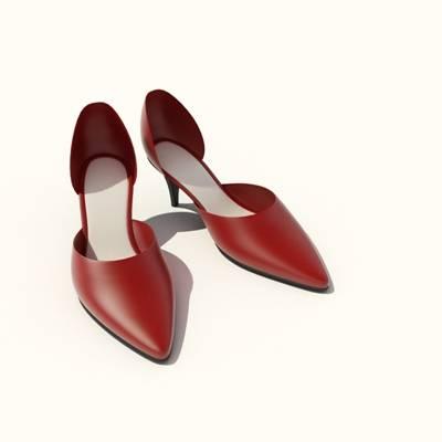红色皮质鞋子3D模型【ID:415433637】
