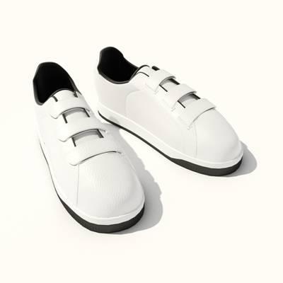 白色皮质鞋子3D模型【ID:415433646】