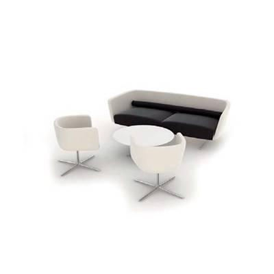 现代米色布艺椅子茶几组合3D模型【ID:415435067】