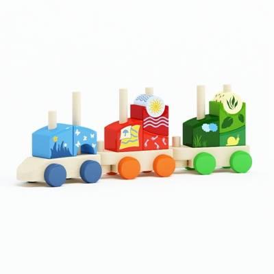 彩色木艺玩具火车3D模型【ID:415436987】