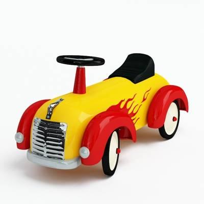 黄色塑料玩具汽车3D模型【ID:415437800】