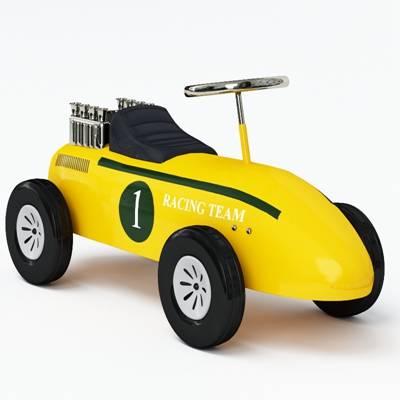 黄色塑料玩具汽车3D模型【ID:415437809】