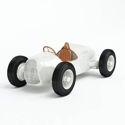 白色塑料玩具汽车3D模型【ID:415437812】