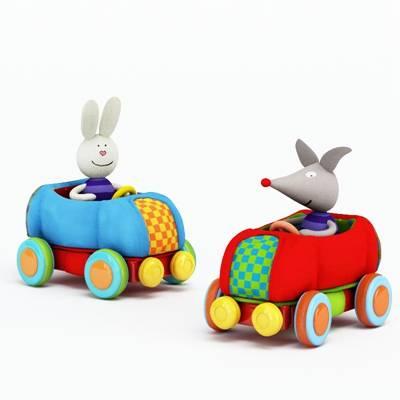 彩色布艺玩具汽车3D模型【ID:415437847】