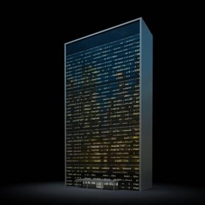 户外夜景高层公建23D模型【ID:415478769】