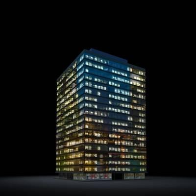 户外夜景高层公建33D模型【ID:415478771】