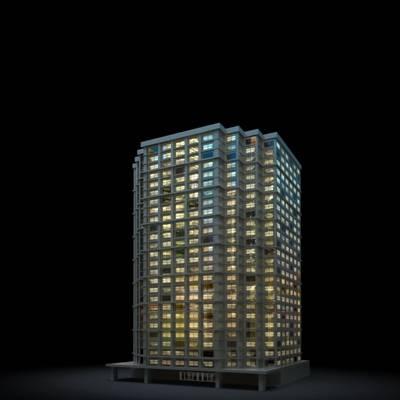 户外夜景高层公建73D模型【ID:415478777】