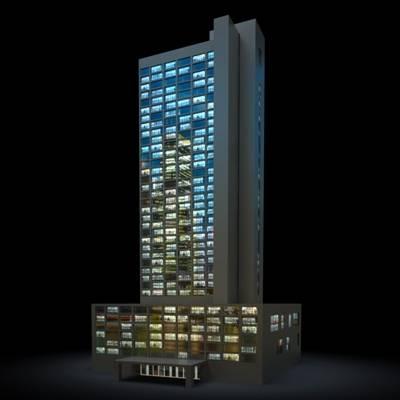 户外夜景高层公建103D模型【ID:415478779】