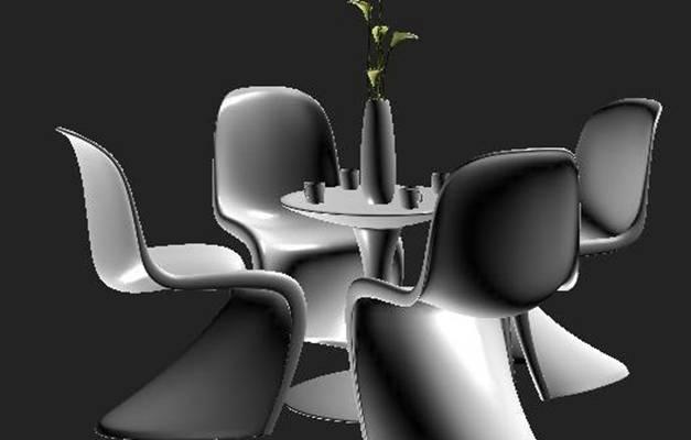 椅子茶几组合33D模型【ID:416984023】