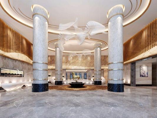 现代酒店大堂3D模型【ID:428258288】