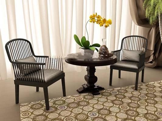 椅子茶几组合563D模型【ID:417017069】