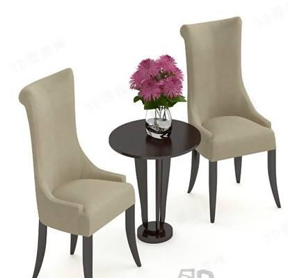 椅子茶几组合73D模型【ID:417120040】