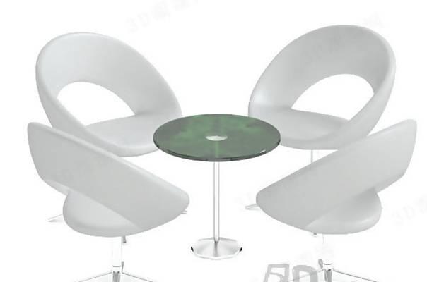 椅子茶几组合83D模型【ID:417120043】
