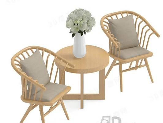 椅子茶几组合103D模型【ID:417120046】