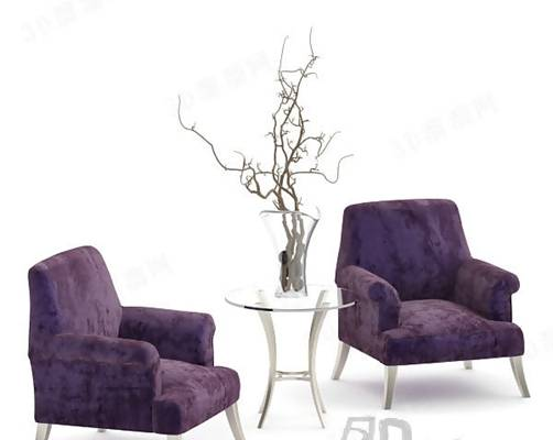 椅子茶几组合213D模型【ID:417120087】