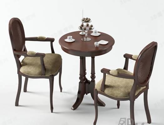 椅子茶几组合93D模型【ID:417121091】