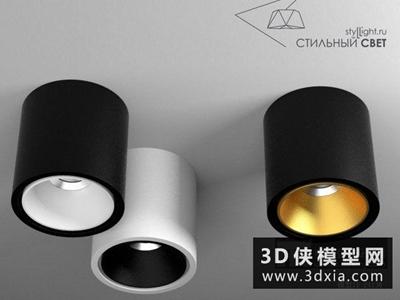 現代明裝筒燈國外3D模型【ID:929356128】