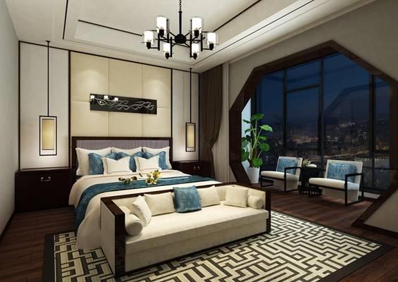 新中式家居卧室3D模型【ID:417413889】