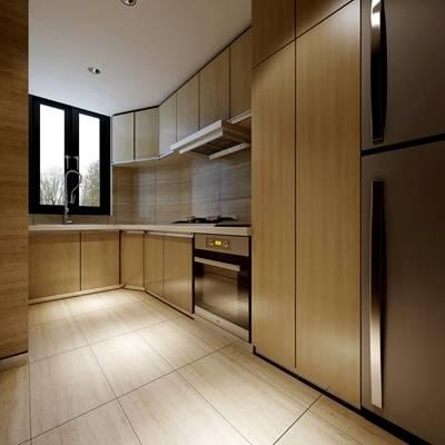 现代家居封闭厨房3D模型【ID:417420989】
