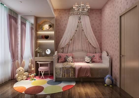现代粉色女孩儿童房3D模型【ID:417438655】