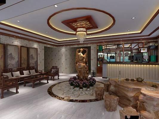 新中式茶馆3D模型【ID:417463129】